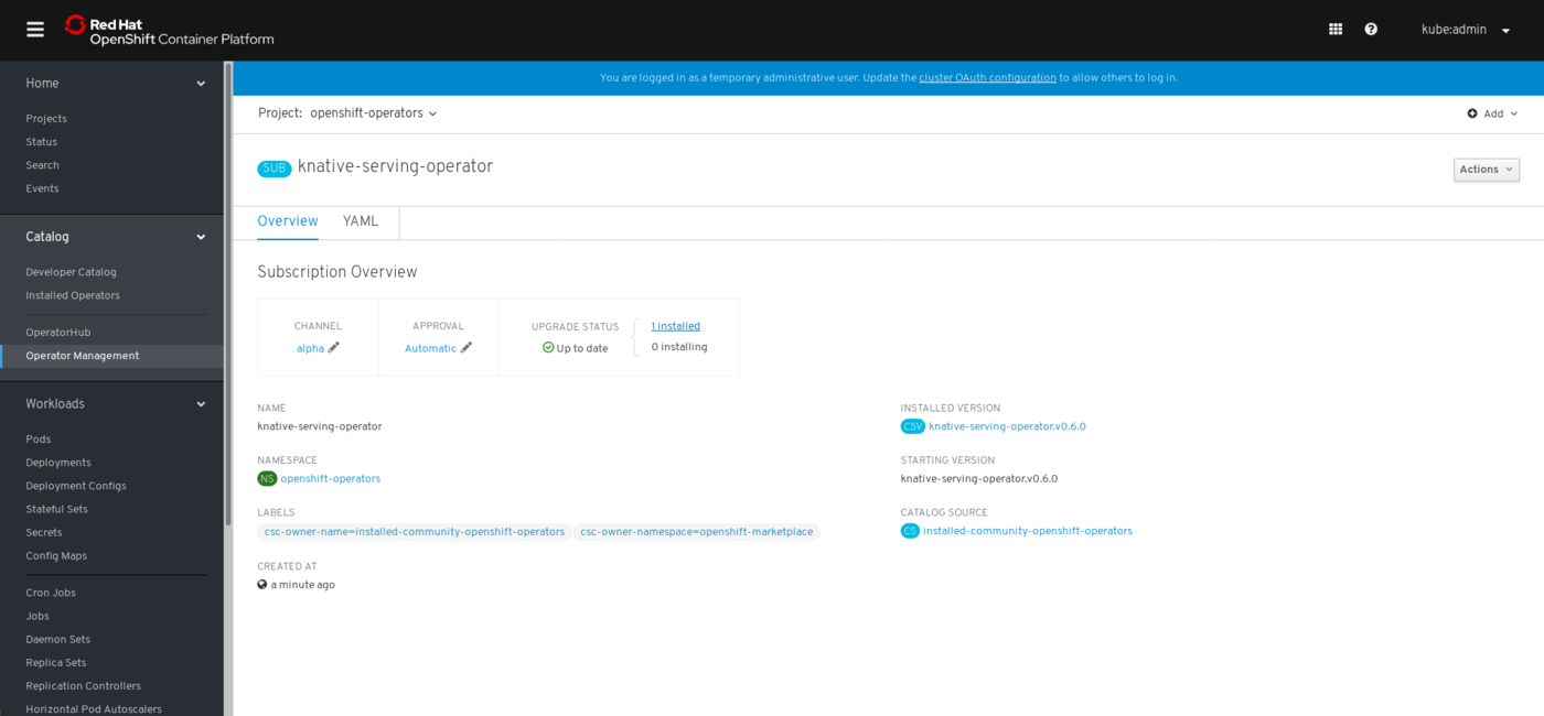 Install on OpenShift | Knative